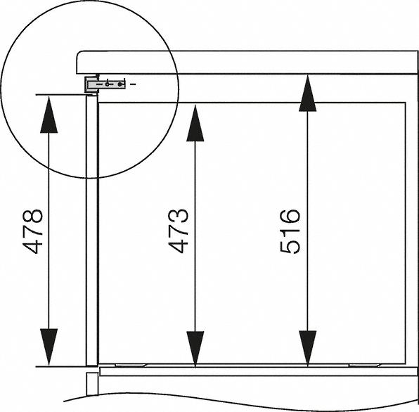 Rozmerové nákresy-Na zabudovanie rúry na pečenie so šírkou 90 cm do dolnej skrinky.-20000046388
