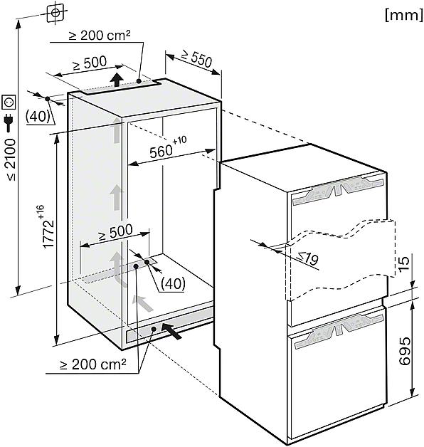 Rozmerové nákresy-pre komfortné uskladnenie potravín vďaka DynaCool a VarioRoom.-20000095013