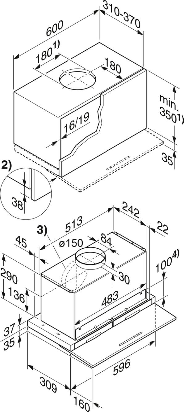 Rozmerové nákresy-s motoricky vysúvateľnou plochou clonou na výpary pre maximálny komfort.-20000107816