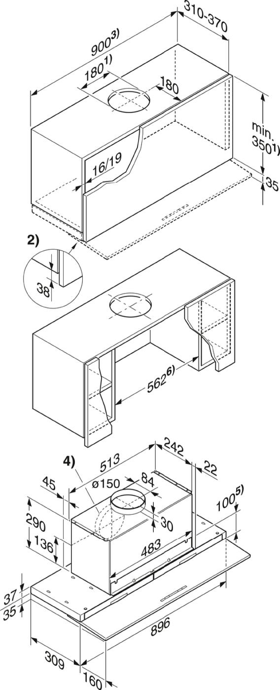 Rozmerové nákresy-s motoricky vysúvateľnou plochou clonou na výpary pre maximálny komfort.-20000107817