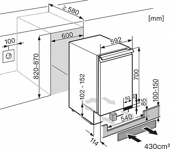 Rozmerové nákresy-s perfek. uskladnením v 2 zónach vďaka aktív. uhlík. filtru a DynaCool.-20000109234