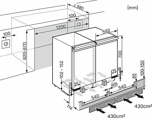 Rozmerové nákresy-s perfek. uskladnením v 2 zónach vďaka aktív. uhlík. filtru a DynaCool.-20000112993