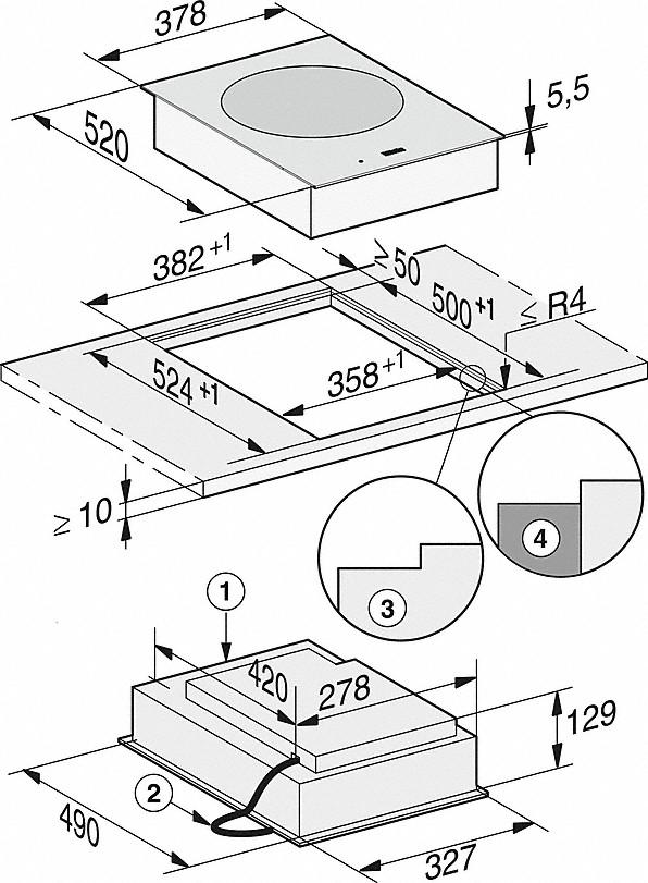 Rozmerové nákresy-sindukčne ohrievanou priehlbinou na wok-20000132005