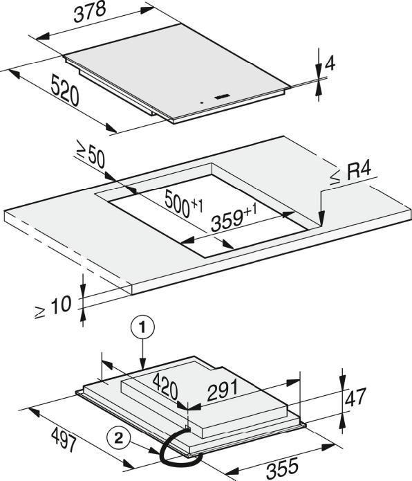 Rozmerové nákresy-sindukčne ohrievanou zónou varenia PowerFlex-20000132012