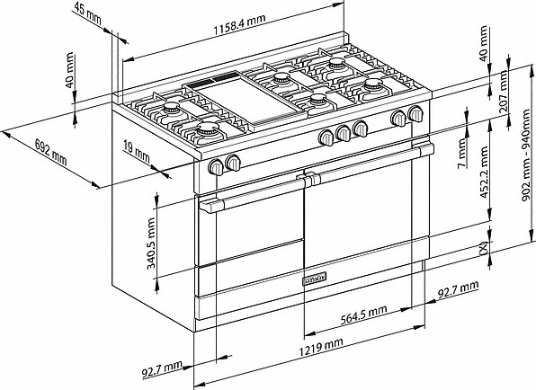 Rozmerové nákresy-- Dual Fuelvšestranný prístroj pre najvyššie nároky.-20000133082