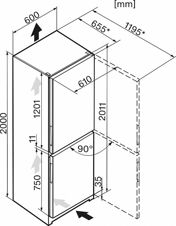 Rozmerové nákresy-s praktickým interiérom a NoFrost pre väčšie pohodlie.-20000133692