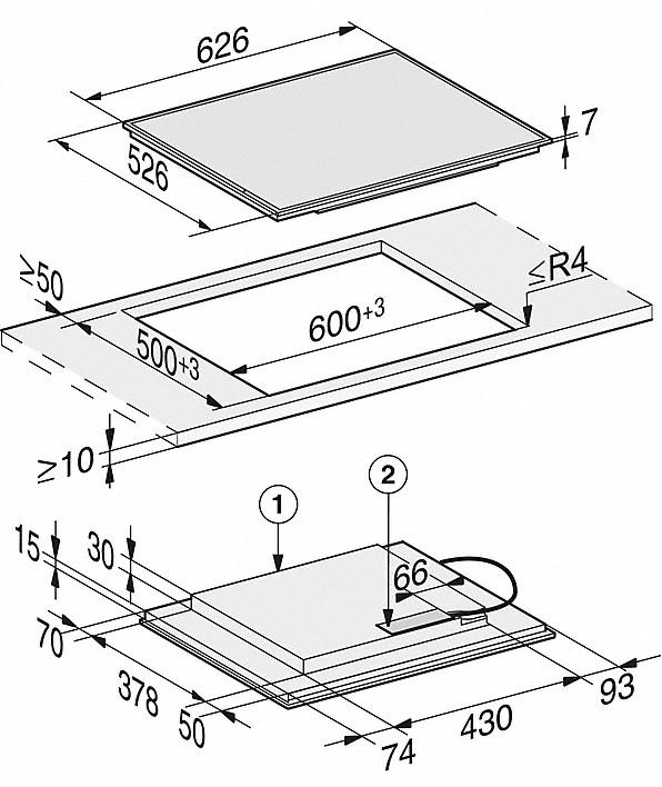 Rozmerové nákresy-so4 zónami varenia PowerFlex pre maximálnu výkonnosť-20000142777