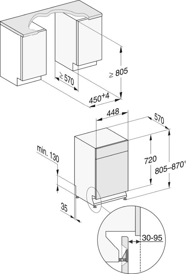 Rozmerové nákresy-pre optimálne výsledky sušenia vďaka systému sušenia AutoOpen.-20000148087