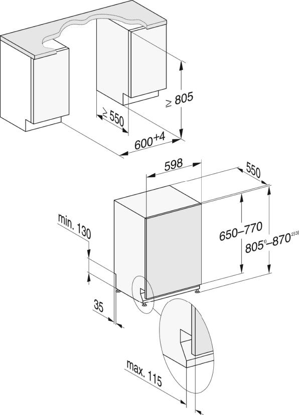 Rozmerové nákresy-pre optimálne výsledky sušenia vďaka systému sušenia AutoOpen.-20000148095