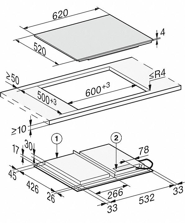 Rozmerové nákresy-so620 mmšírkou a celoplošnou indukciou pre veľkú flexibilitu-20000150537