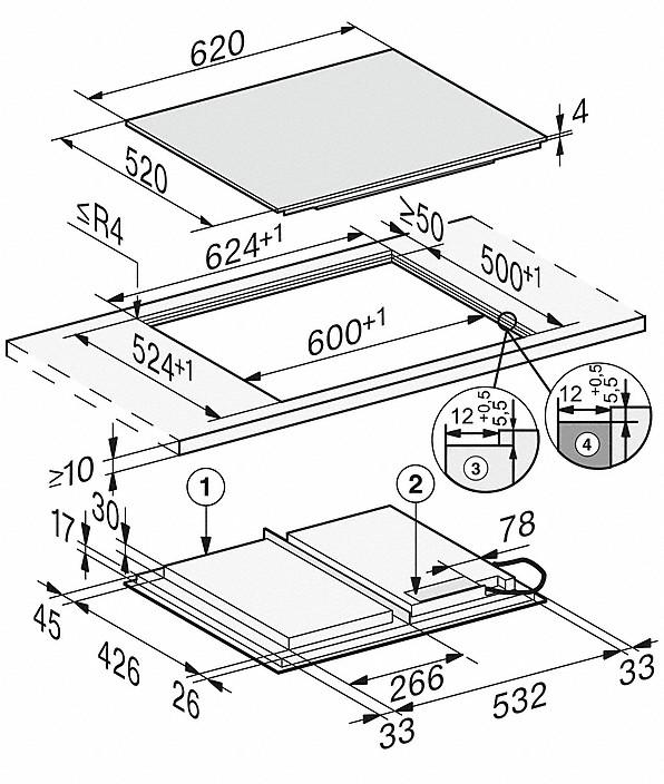 Rozmerové nákresy-so620 mmšírkou a celoplošnou indukciou pre veľkú flexibilitu-20000150539