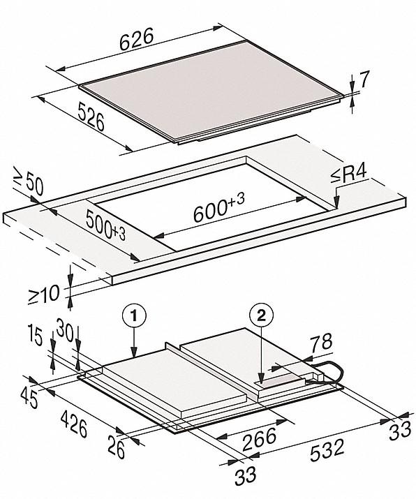 Rozmerové nákresy-so626 mmšírkou a celoplošnou indukciou pre veľkú flexibilitu-20000150541