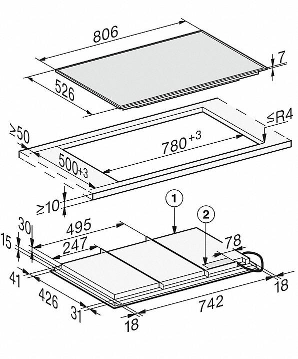 Rozmerové nákresy-so806 mmšírkou a celoplošnou indukciou pre maximálnu flexibilitu-20000150545