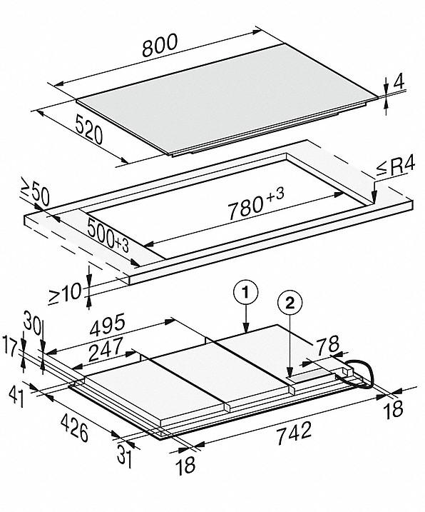 Rozmerové nákresy-so800 mmšírkou a celoplošnou indukciou pre maximálnu flexibilitu-20000150547