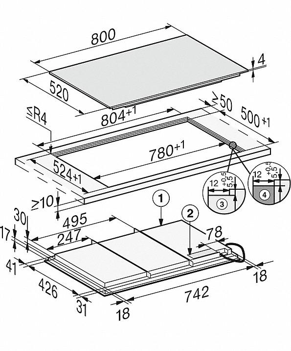 Rozmerové nákresy-so800 mmšírkou a celoplošnou indukciou pre maximálnu flexibilitu-20000150548