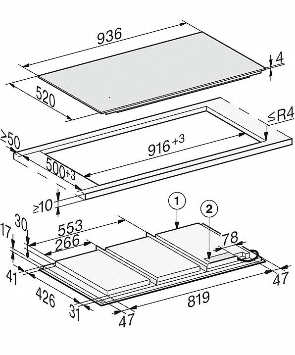Rozmerové nákresy-so936 mmšírkou a celoplošnou indukciou pre maximálnu flexibilitu-20000151107